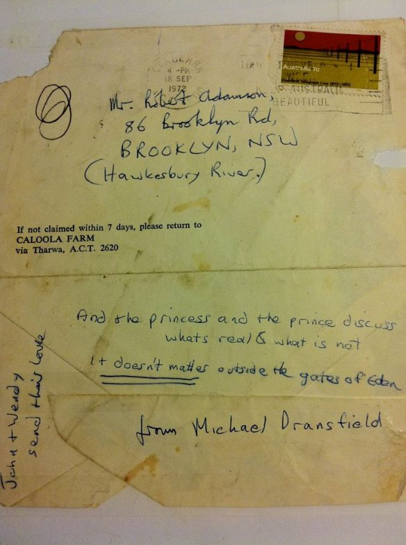 The envelope containing the last letter that Michael Dransfiled sent to Robert Adamson. The letter is now held by the National Library