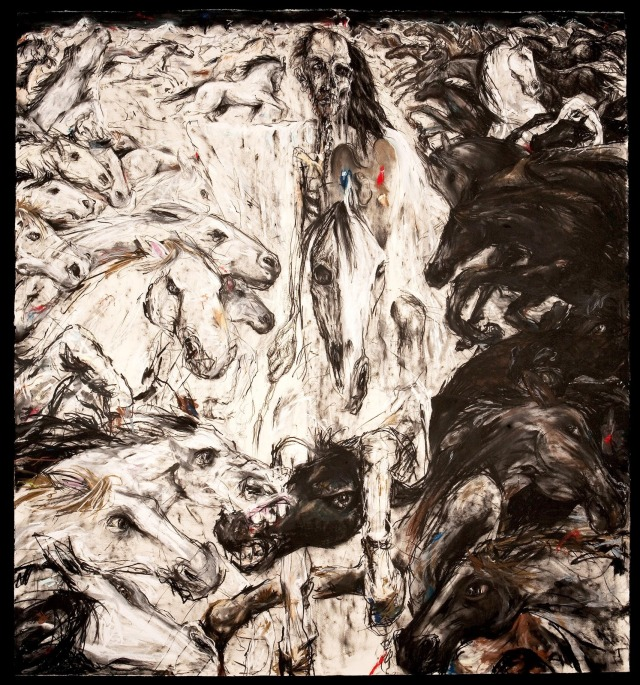Stephen Hall, The Limner passes through the Eternal Battle, 2011, mixed media on paper. Pic: courtesy of the artist