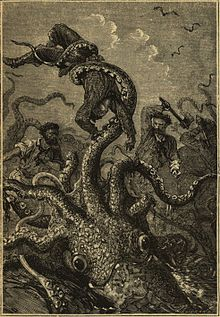 An illustration from the original 1870 edition of Twenty Thousand Leagues Under the Sea