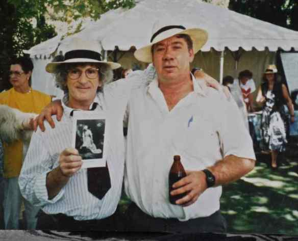 Robert Harris (right) and Robert Adamson at the launch of Jane Interlinear at Adelaide Writers Week 1992.'  (photo by Lynn Hard)