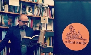 Kent MacCarter reading at the launch of Sputnik's Cousin - Collected Works 14 May 2014 (Photograph - Angela Meyer)