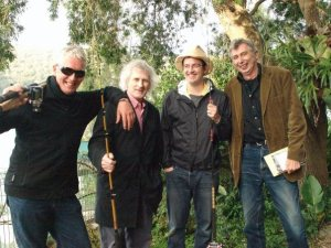 Pictured (l-r): Anthony Lawrence, Flood author Bob Adamson, Devin Johnston, and Martin Harrison, Mooney Creek, New South Wales, May 2009. (Photograph Juno Gemes)