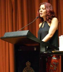 Saba Vasefi - speaking at the screening of her films Symphony of Strange Waters and Don't Bury My Heart at NSW Parliament House