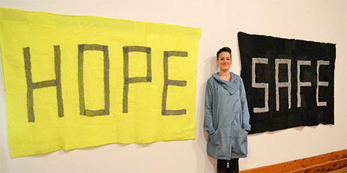 Kate Just was recently announced as the winner of the Wangaratta Contemporary Textile Award 2015 for her work 'Safe Banner'. The work is on display as part of the  Wangaratta Contemporary Textile Award 2015 until 26 July. Details http://www.wangaratta.vic.gov.au/recreation-leisure/art-gallery/exhibitions/exhibitions.asp