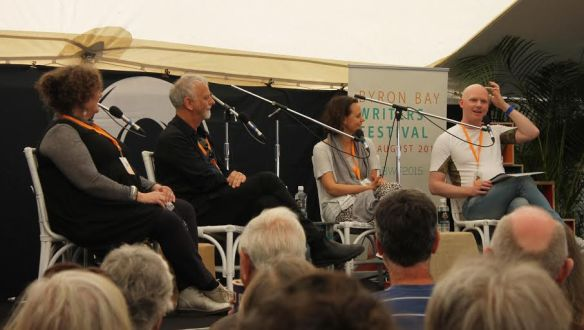 Ramona Koval , Andrew Knight and Mia Freedman (left to right) discuss Anxiety and Creativity at the 2015 Byron Bay Writers Festival. Photograh Sara Khamkoed