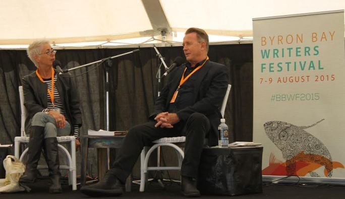 John Dahlsen speaking  with Jeni Caffin o at the Bryon Bay Writers Festival. Photograph - Sara Khamkoed