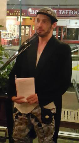 QUEER Poetry MC Scott Patrick –Mitchell. Photograph Coral Carter.