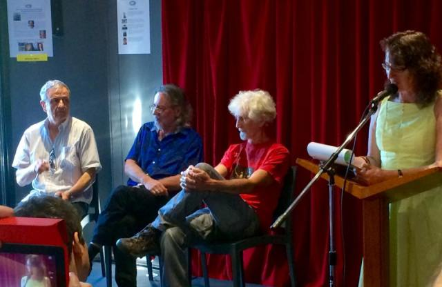 Martin Langford, Les Wicks and Phil Hammial with MC xxxx at the microphone during Island Press' 45 birthday celebrations.Picture ....