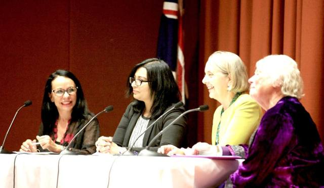 The panel discussion at the launch of Beyond the Fathers Shadow (left to right) The Hon. Linda Burney Deputy Leader of the NSW Opposition. Dr. Mehreen Faruqi Greens Member of legstilative Council. Senator Lee Rhiannon. Dr Wendy Michaels: Historian, Honorary Research Fellow, University of Newcastle; Director, The Women's Club; Convenor, Rose Scott Women Writers' Festival.