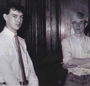 Tony Oliver with Andy Warhol at The factory NYC , 1982. Photograph Peter Leiss