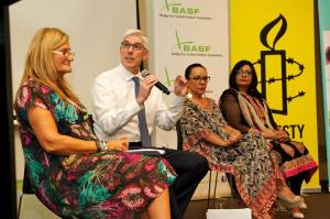 One of the panel discussions. From Right to left: Dr. Mehreen Faruqi, Member of NSW Parliament; Hon. Linda Burney,Deputy Leader of the Opposition, Shadow Minister for Aboriginal Affairs,Dr Graham Thom:Amnesty International National Refugee Coordinator,Violet Roumeliotis, CEO Settlement Service International.
