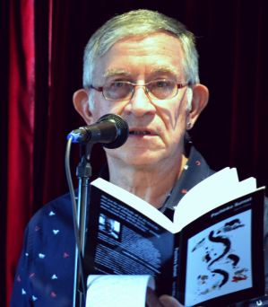 David Gilbey reading at the Sydney Launch of Pachinko Sunset. Photograph Tahira Husain