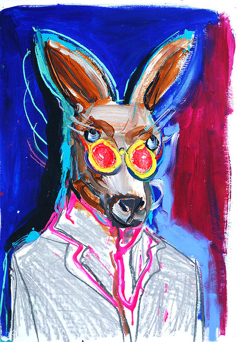 Nicci Pratten, Lennon Roo, mixed media on paper, 2016. Photograph courtesy of the artist
