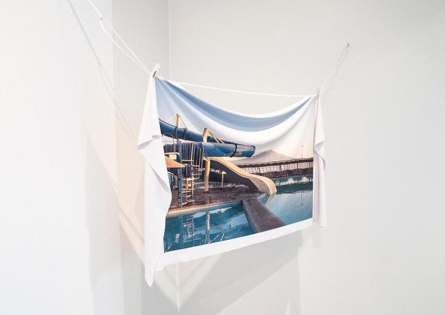 Isabel R, Tobogán (Slide), digital print on lycra, synthetic rope, 2016. Picture courtesy of Interlude Gallery
