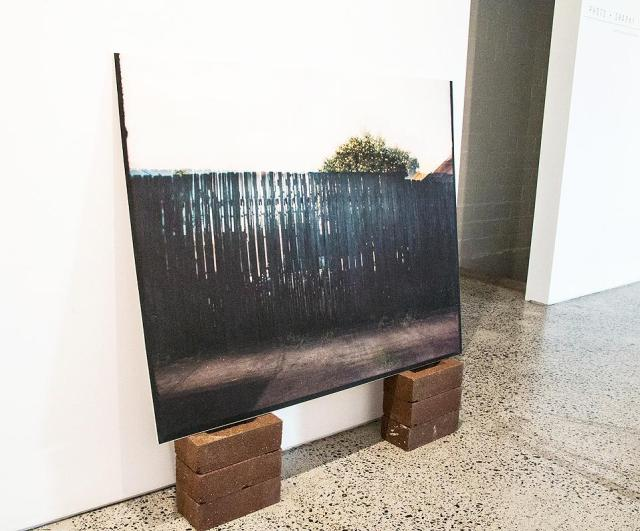 Talia Smith, Seven Times over Seven Days (Time, Distance, Me and You), inkjet print on matte paper from a 120mm photograph, bricks, plywood, 2016. Picture courtesy of Interlude Gallery