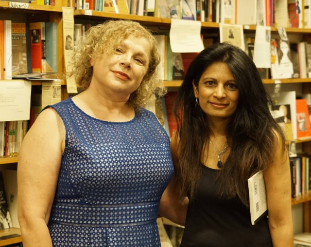Tina Giannoukos (left) with Michelle Cahill at the launch opf The Herring Lass at Collected Works Bookshop. Photo Richard Mudford